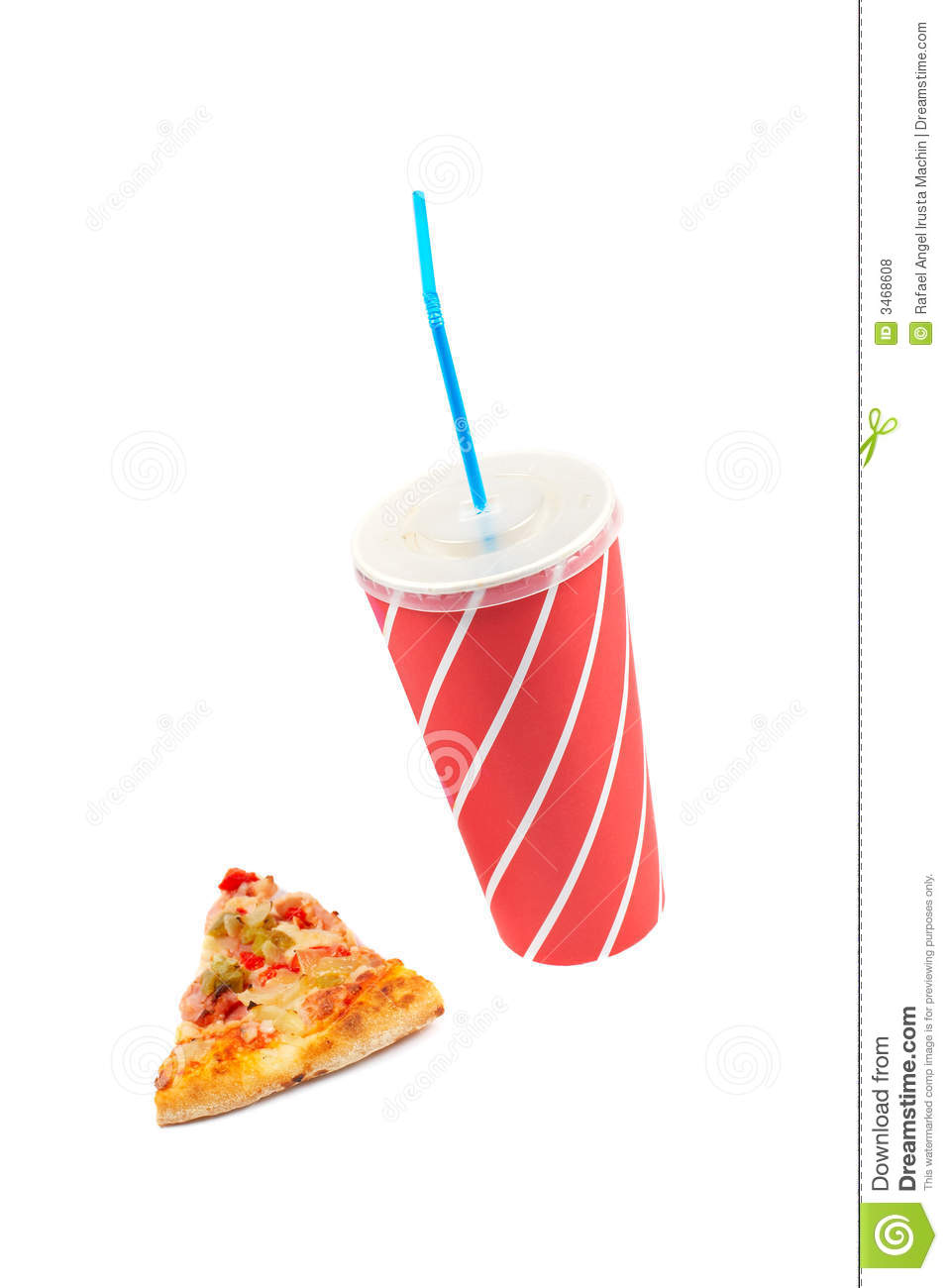 Slice Of Pizza And Soda Drink Royalty Free Stock Photos.