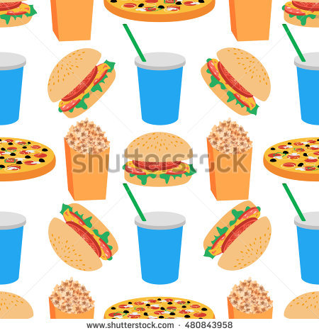 Illustration Fast Food Pizza Hamburger Sandwich Stock Vector.