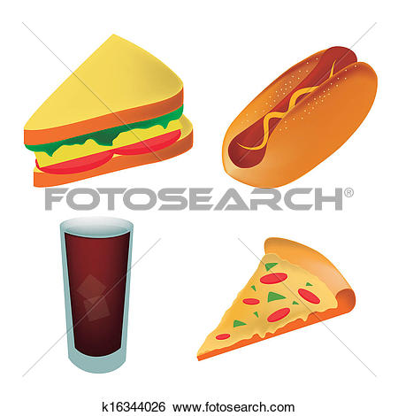Clip Art of four icons of fast food representing a pizza sandwich.