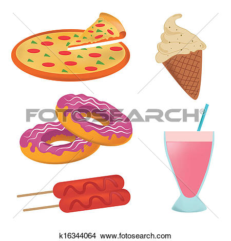 Clipart of five icons of fast food representing a pizza, ice cream.