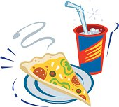 Pizza Slice And Drink Color Vector Art.