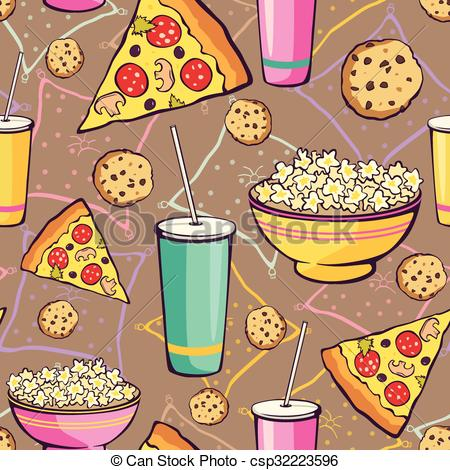 EPS Vectors of Vector Brown Slumber Party Food Seamless Pattern.