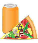 pizza and aluminum cans with.