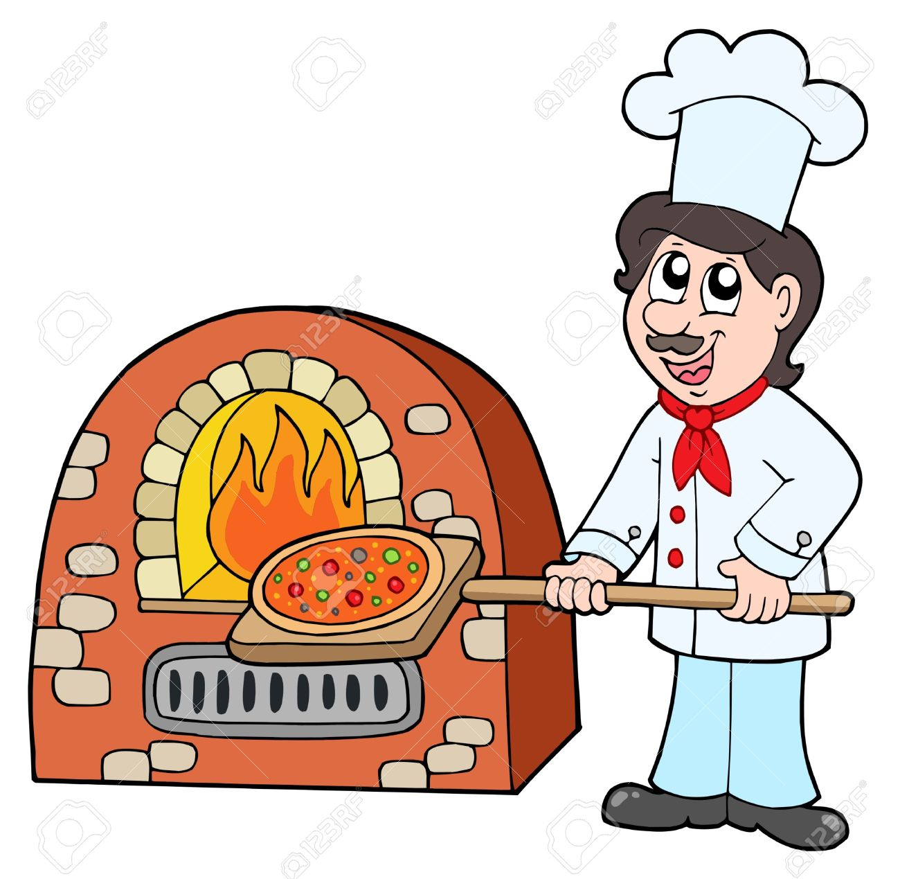 Chef Baking Pizza.