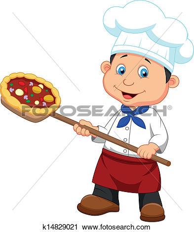 Clipart of Italien Pizza Baker k6679551.