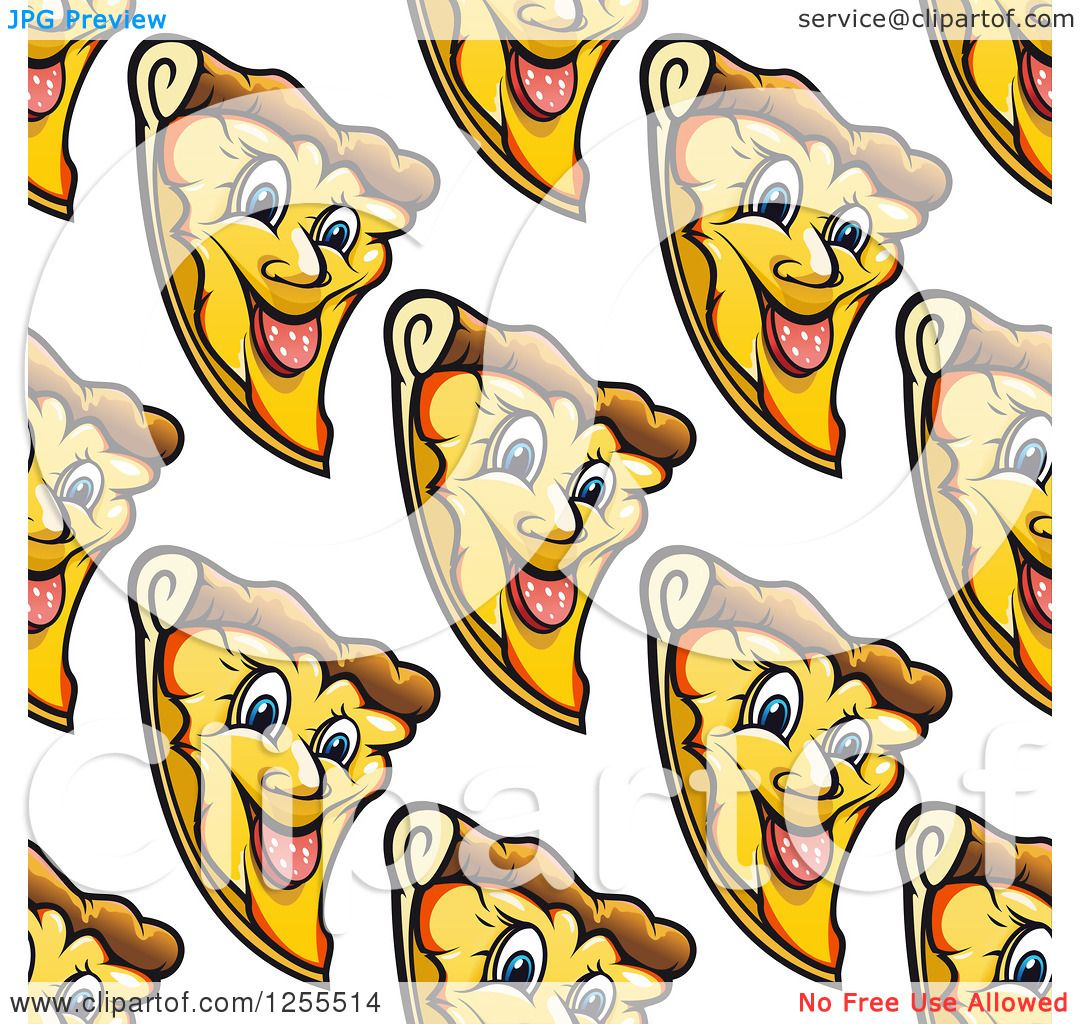 Clipart of a Seamless Background Pattern of Happy Pizza Slices.