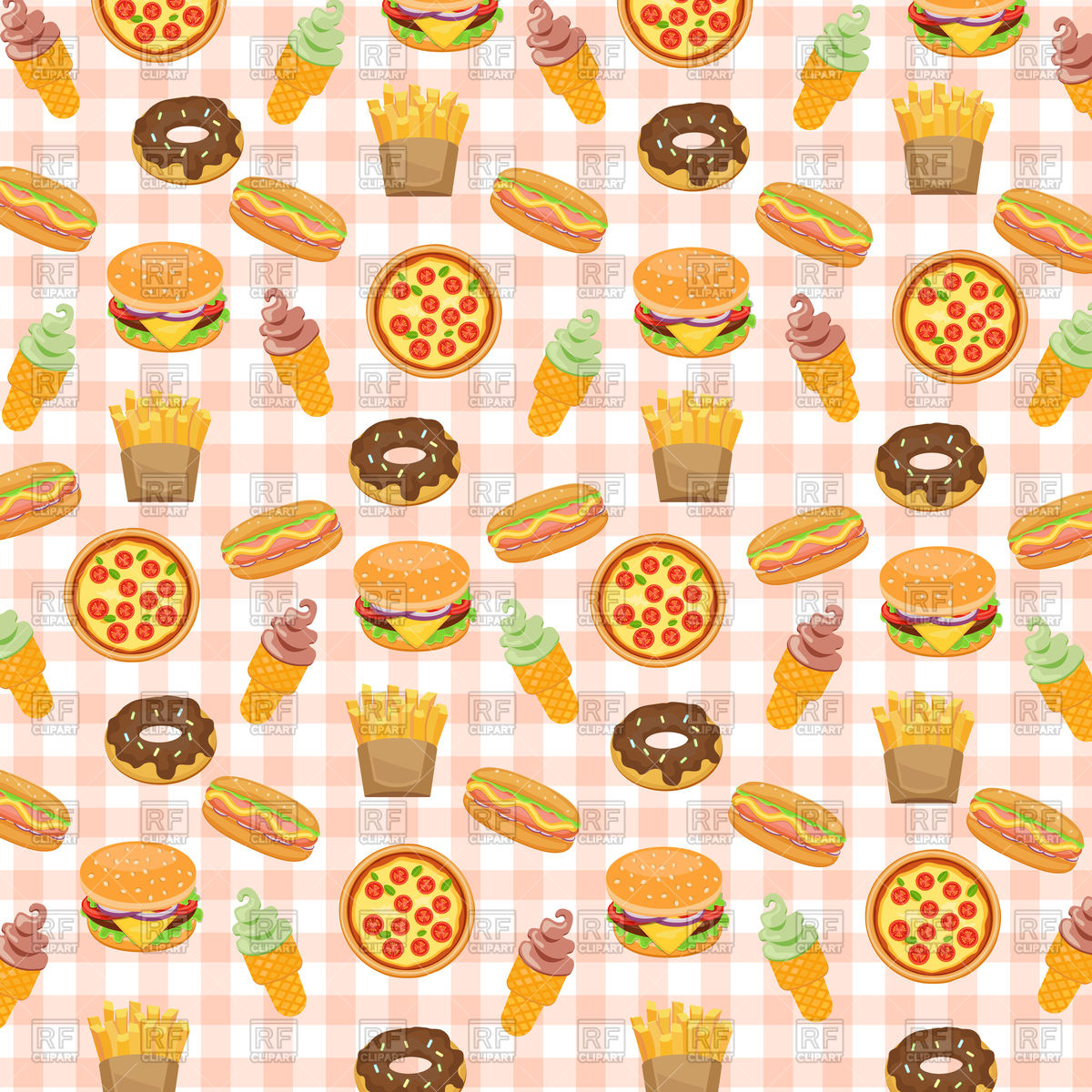 Fast food background with doughnut, hotdog, ice cream, burger.