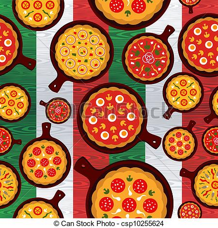 Vector Illustration of Italian pizza flavors pattern.