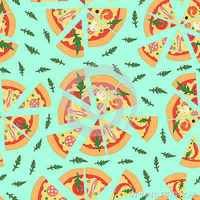 Seamless Pizza Slice Vector Background Stock Images.