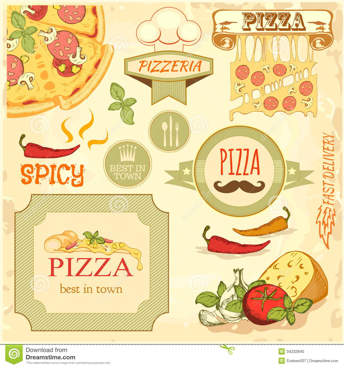 Pizza Slice And Ingredients Background, Box Label Packaging Design.