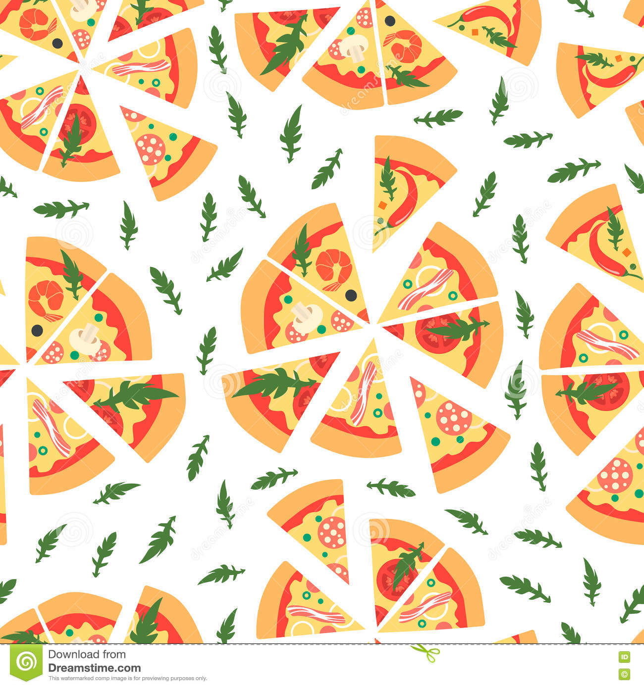 Pizza. Seamless Pattern. Background Pizza. Vector Illustration.
