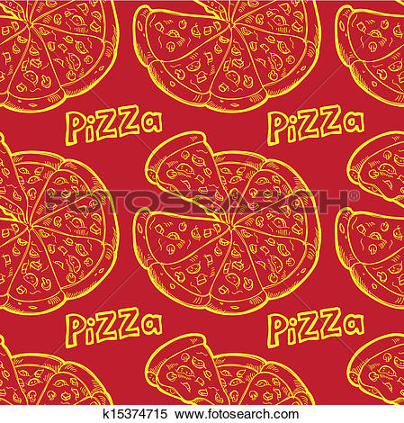 Clipart of pizza seamless background k15374715.