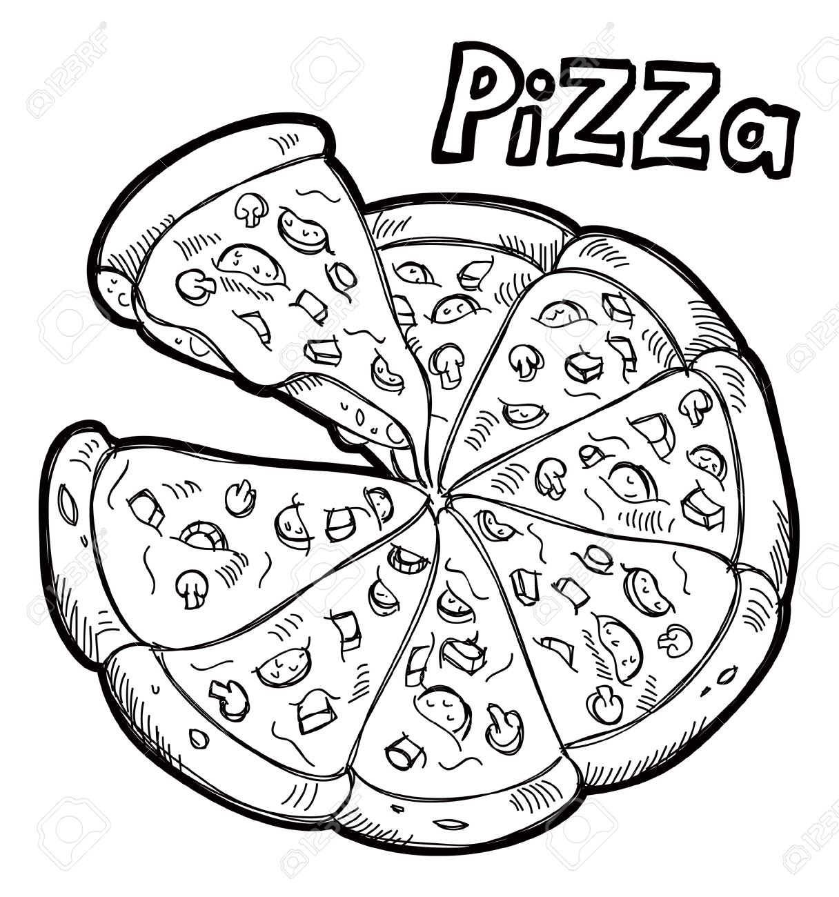 Best Pizza Clipart Black And White #6397.