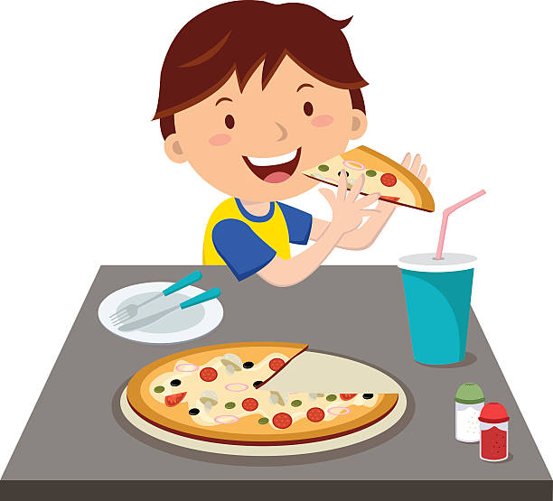 Child Eating Pizza Clipart.