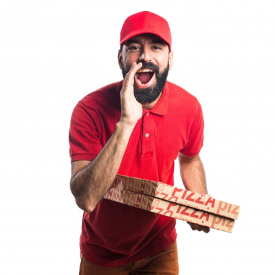 Pizza delivery man shouting Photo PNG.