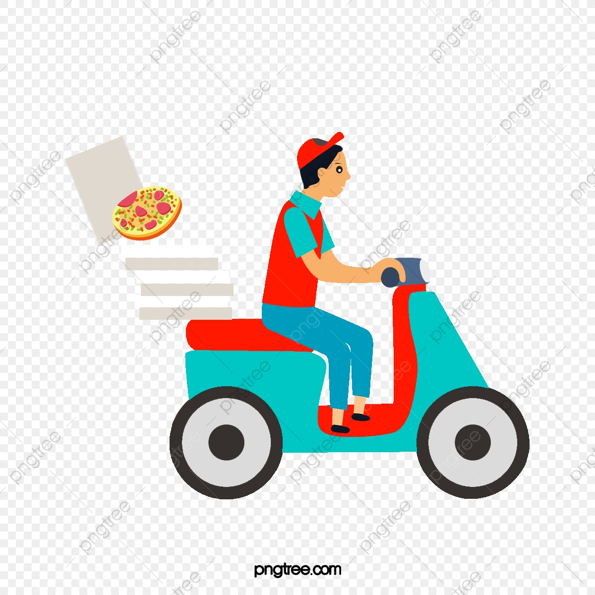 The Pizza Delivery Man, Man Clipart, Pizza Delivery, Ride.
