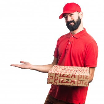 Pizza Delivery Man Presenting Something #79506.