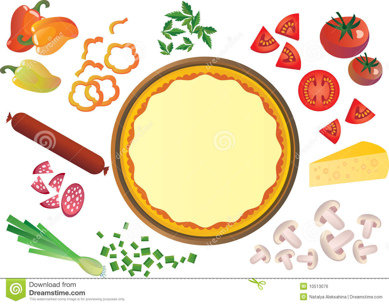 50+ Pizza Toppings Clipart.