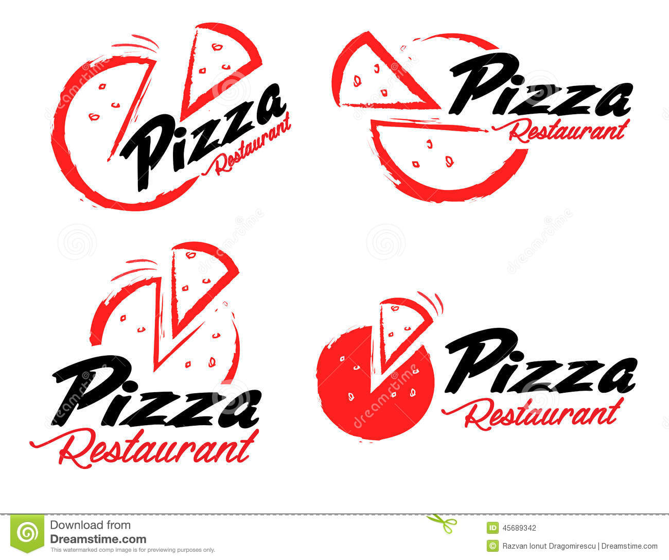 Pizza Logo Stock Vector.