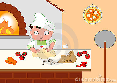Oven Pizza Wood Stock Illustrations.