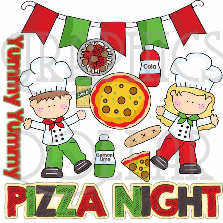 Pizza Night Clip Art.