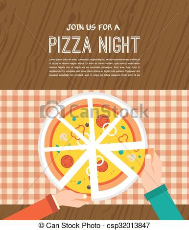 EPS Vector of Pizza night invitation. People having dinner.