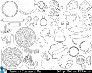 Pizza Outline Set Clipart Digital Clip Art Graphics 48 images cod214.