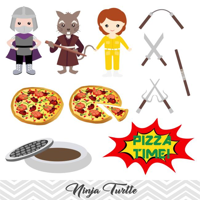 Ninja Turtle Clip Art, TMNT Clipart, Ninja Turtle Pizza Party Clipart, 00196.