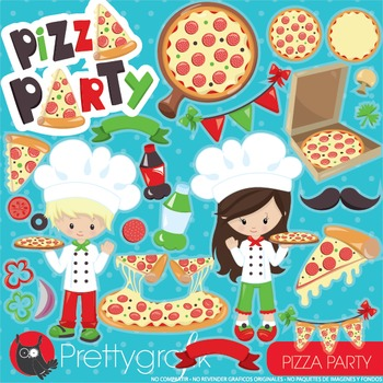 Pizza party clipart commercial use, vector graphics, digital.