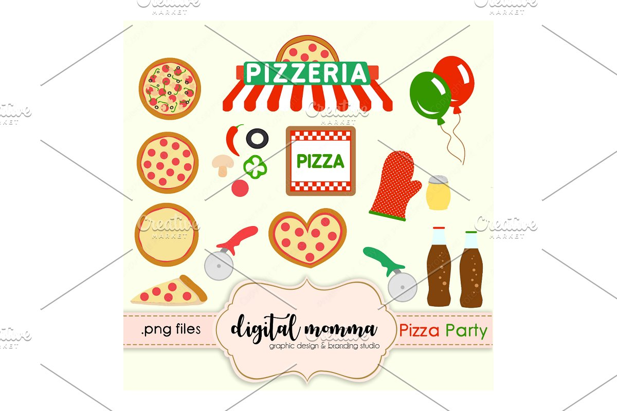 Pizza Party Clipart Set.