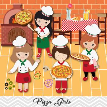 Digital Pizza Girl Clipart, Little Girl Chef Clip Art, Girl Pizza Party  Clipart.
