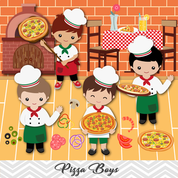 Digital Pizza Boy Clip Art, Little Boy Chef Clip Art, Kid Pizza Party  Clipart.
