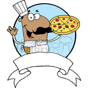 Pleased Hispanic Pizza Chef With His Perfect Pizza Pie clipart.  Royalty.