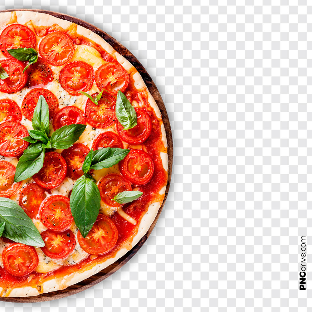 Yummy Vegetable Half Pizza PNG Image.