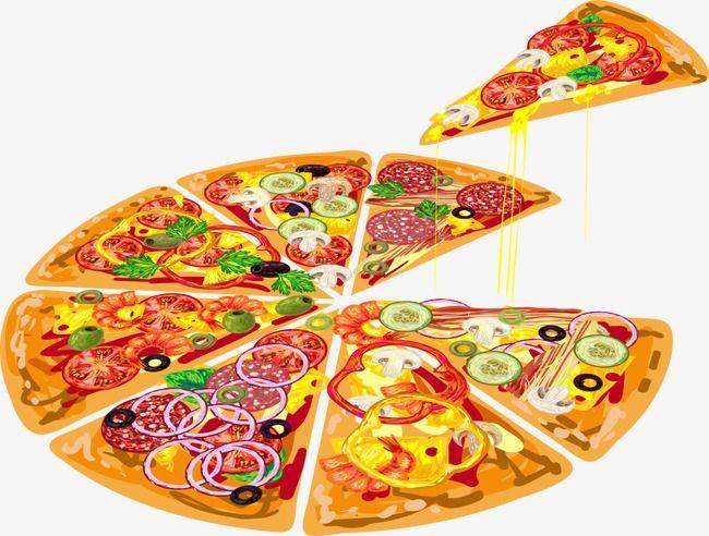 Vector Sliced pizza, Pizza, Cartoon Pizza, Vector Pizza.