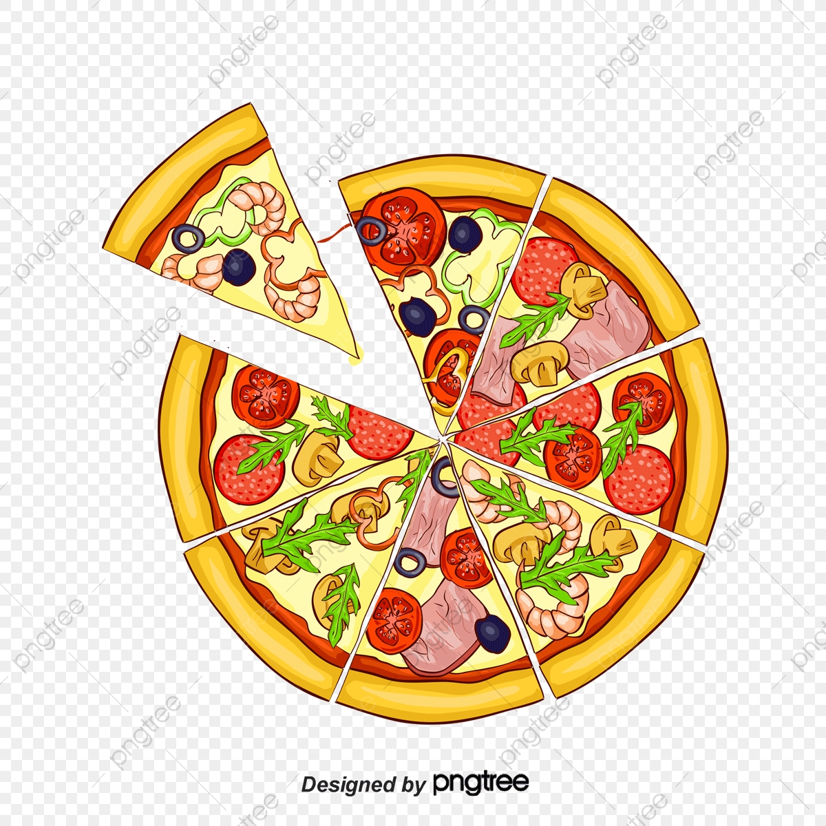 Vector Hand Painted Cheese Pizza, Hand Vector, Cheese Vector.