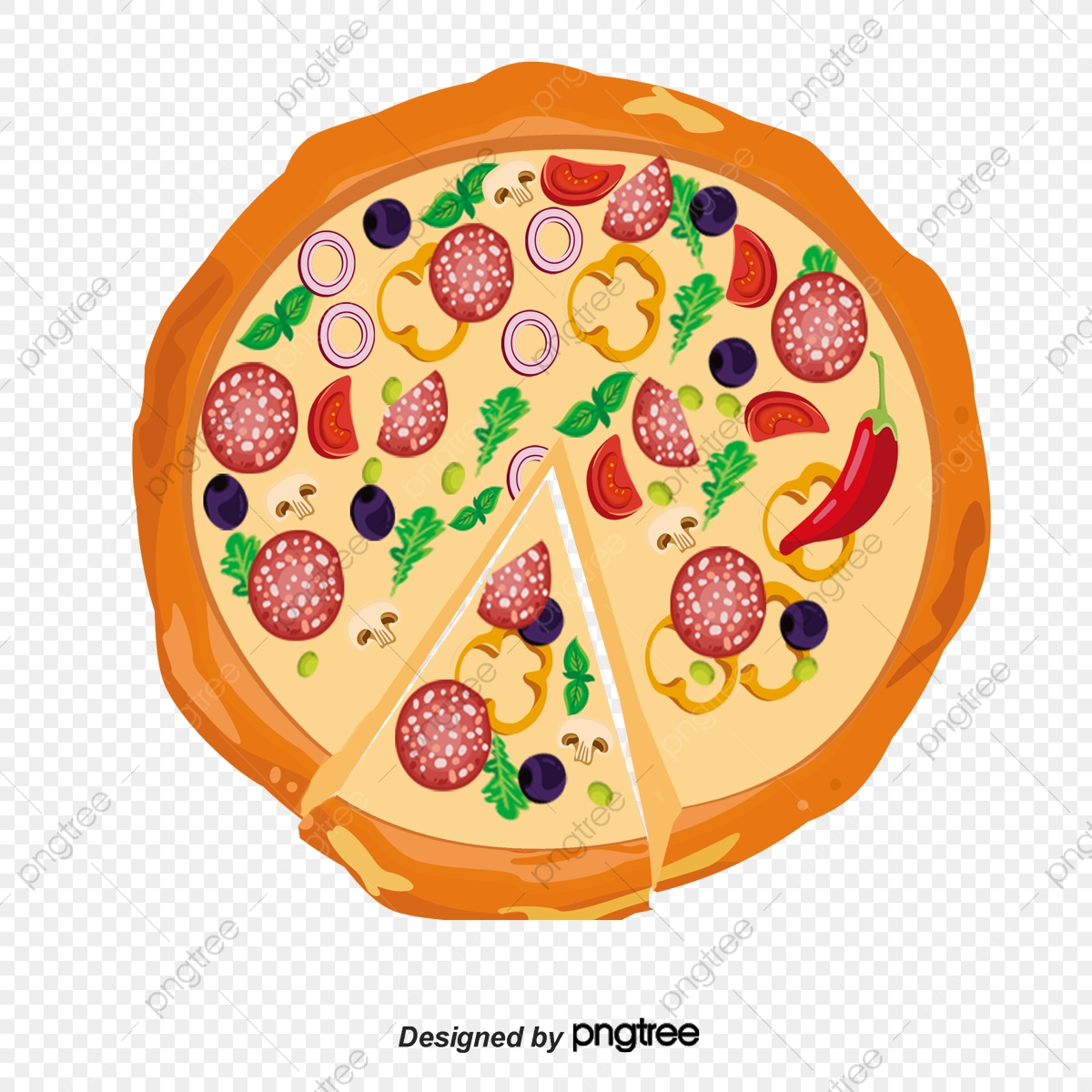 Vector Pizza, Pizza Vector, Fast Food, Tomato Vegetable.