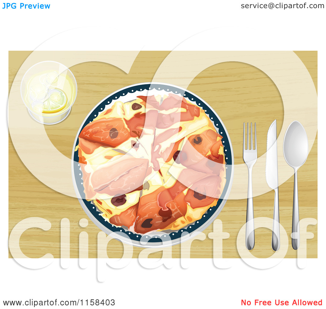 Clipart of a Prosciutto Pizza Served on a Wood Table.