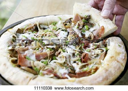 Pictures of Man Grabbing a Slice of Prosciutto, Mushroom, Onion.