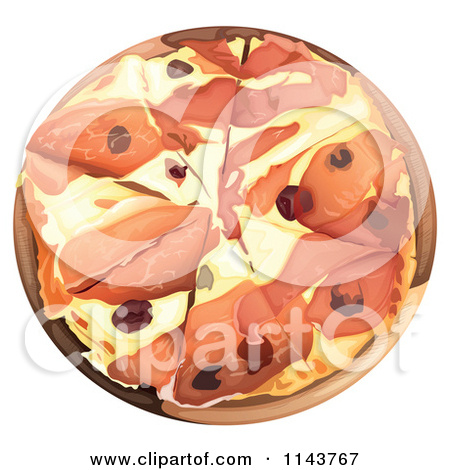Cartoon of a Chubby Girl Holding a Pizza by a Table.