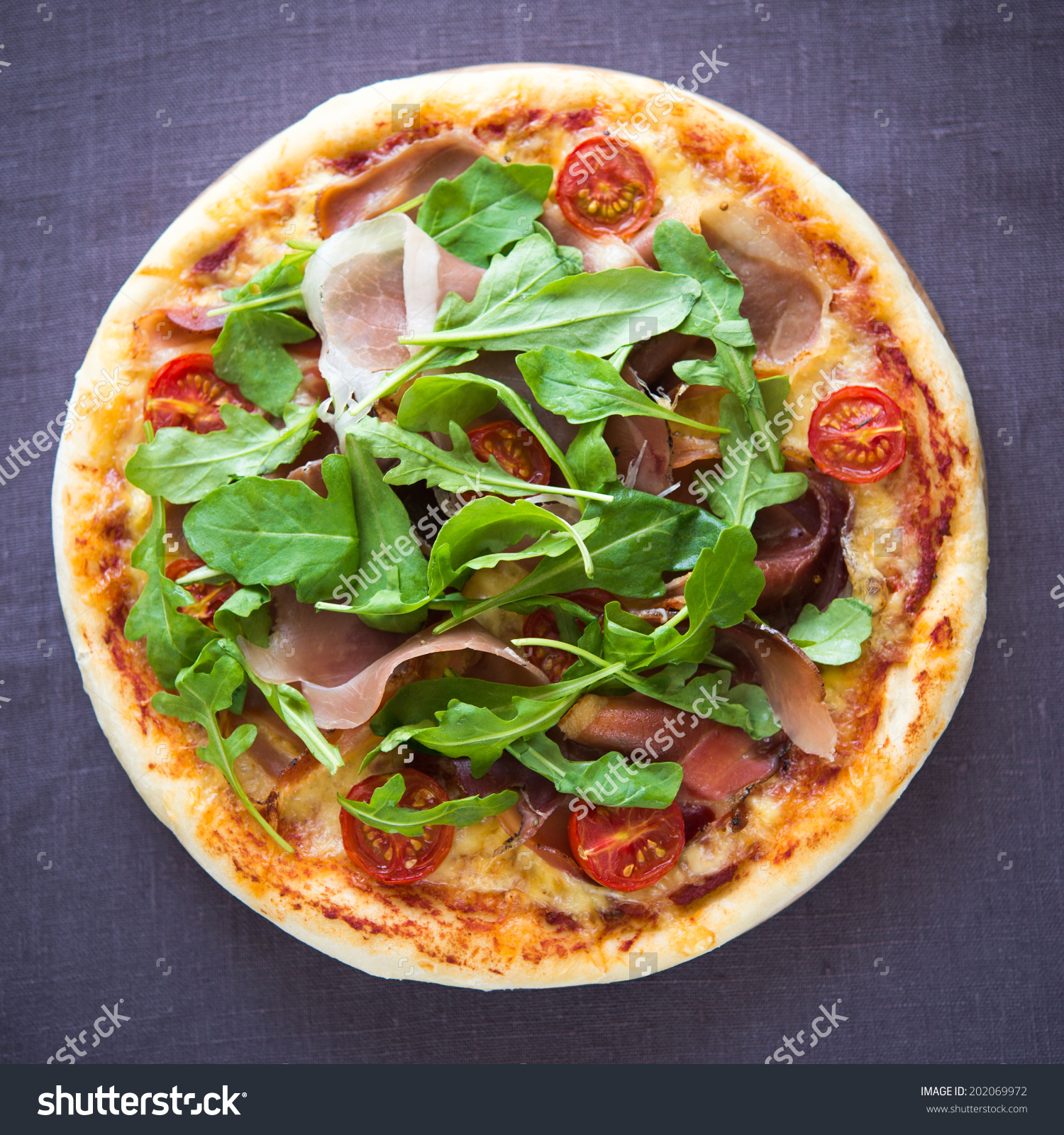 Pizza Prosciutto Arugula Salad Rocket Top Stock Photo 202069972.