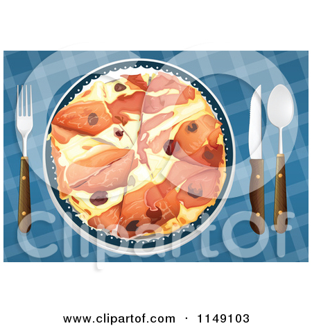 Cartoon of a Served Prosciutto and Olive Pizza.