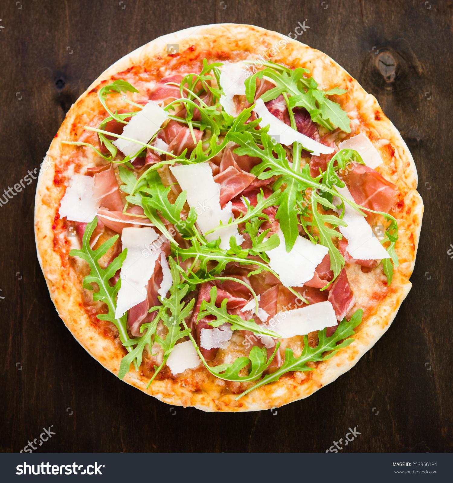 Pizza Prosciutto Parma Ham Arugula Salad Stock Photo 253956184.