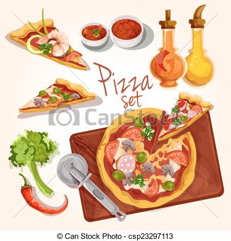 Vector Clip Art of Pizza ingredients set.