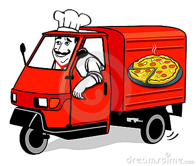 Pizza Delivery Van Stock Illustrations.