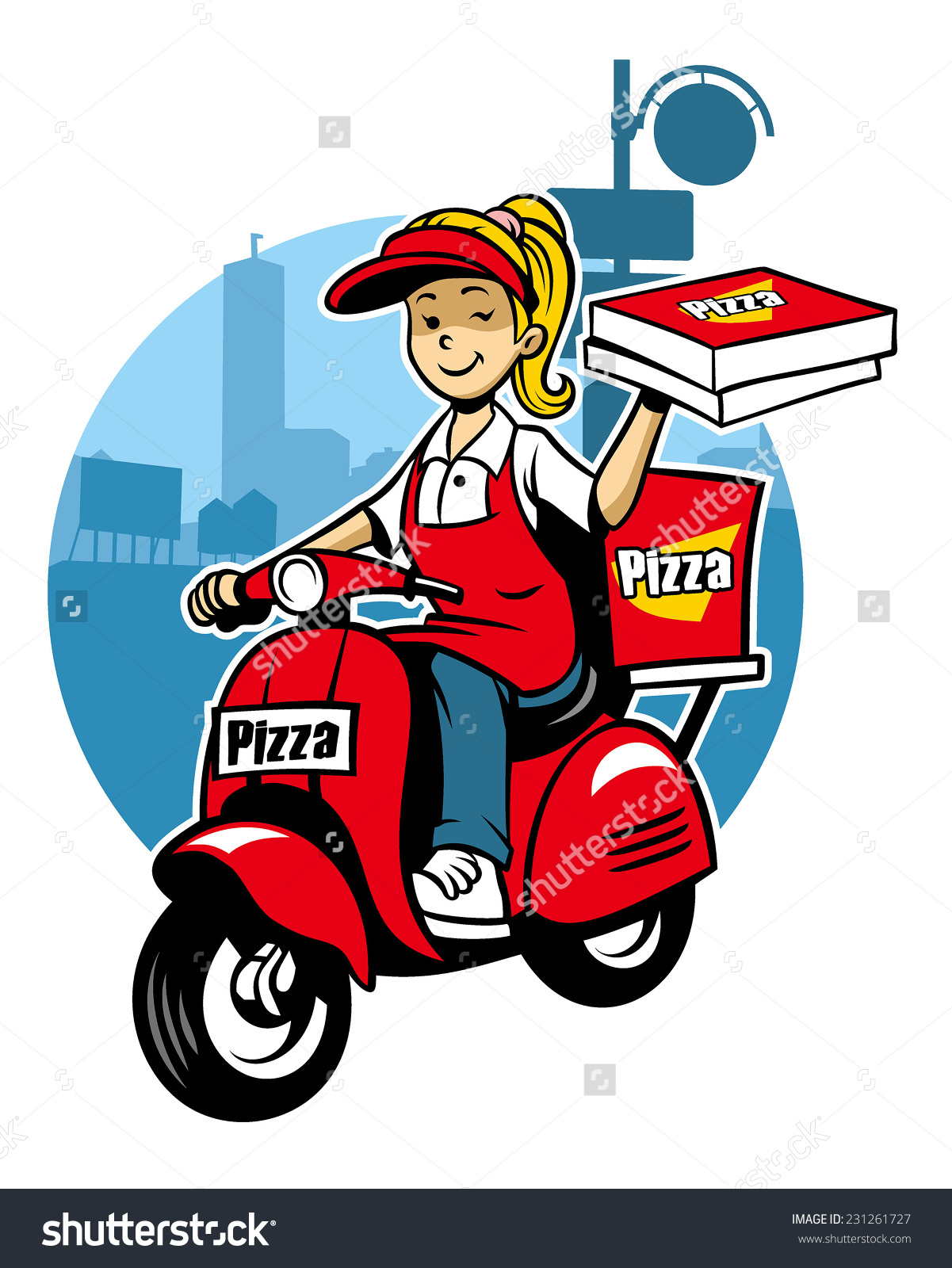 Girl Pizza Delivery Service Ride Scooter Stock Vector 231261727.