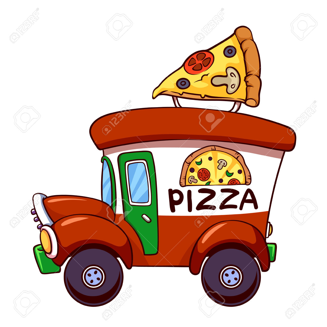 Pizza car clipart.
