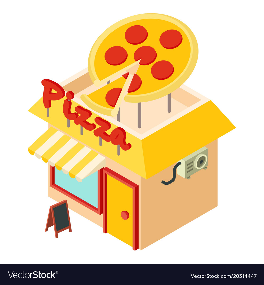 Pizza shop icon isometric style.