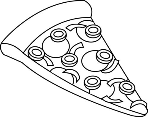 Pizza black and white clipart.