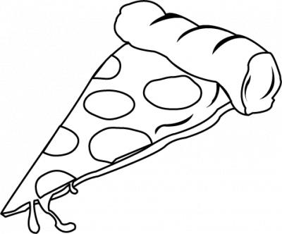 Cheese pizza slice black and white clipart.